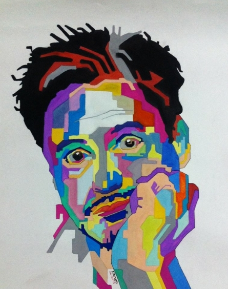 Portrait Acrylic Art Painting title Robert downey Jr by artist Jay Ramani