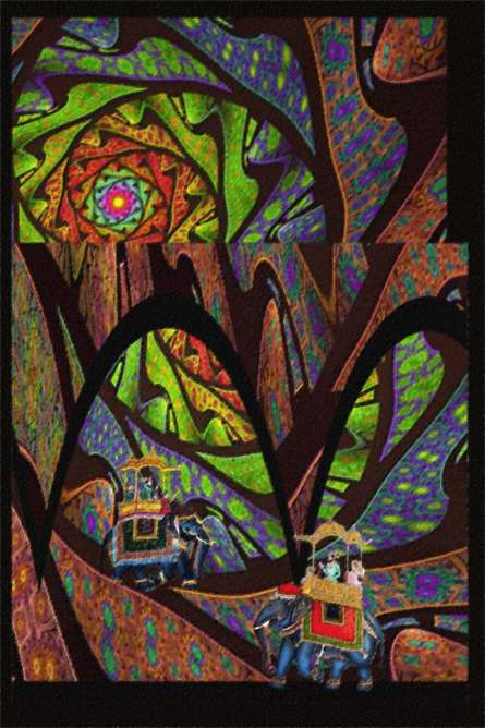 Fractal Landscape with Rajas | Digital_art by artist CLAUDIO FIORI | Art print on Canvas