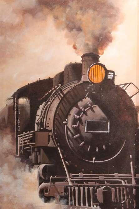 Locomotive11 | Painting by artist Kishore Pratim  Biswas | acrylic | Canvas