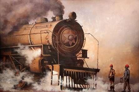 Impressionist Acrylic Art Painting title 'Locomotive13' by artist Kishore Pratim Biswas