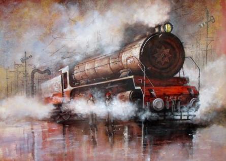 Cityscape Acrylic Art Painting title 'Locomotive16' by artist Kishore Pratim Biswas