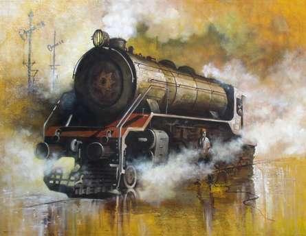 Locomotive17 | Painting by artist Kishore Pratim  Biswas | acrylic | Canvas