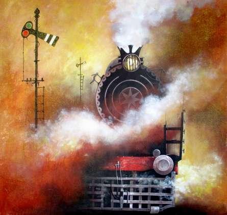 Cityscape Acrylic Art Painting title 'Locomotive19' by artist Kishore Pratim Biswas