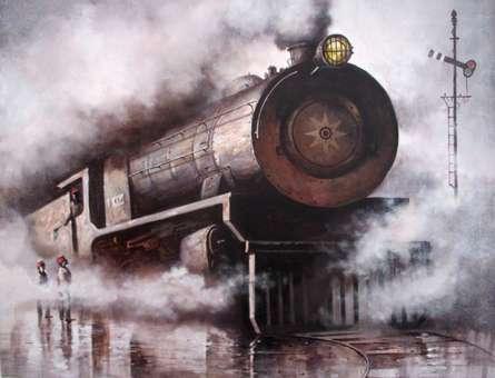 Cityscape Acrylic Art Painting title Locomotive20 by artist Kishore Pratim Biswas