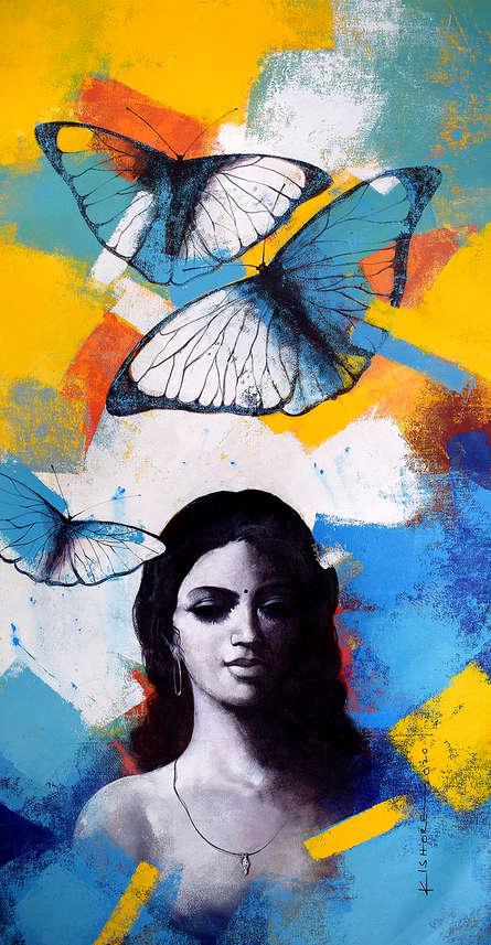 Figurative Acrylic Art Painting title 'Freedom of beauty 11' by artist Kishore Pratim Biswas