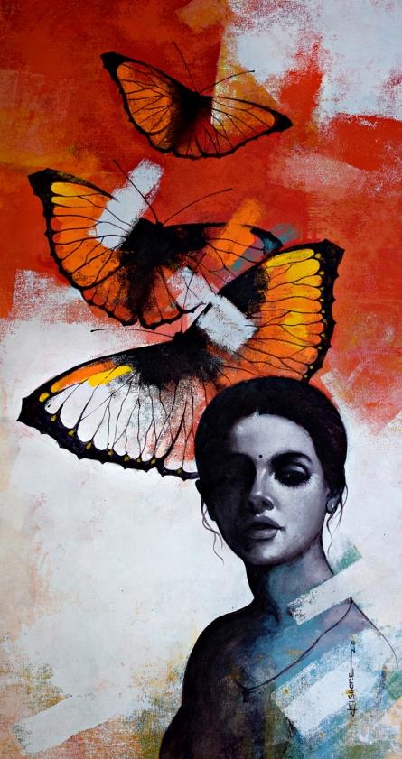 Figurative Acrylic Art Painting title 'Freedom of beauty 14' by artist Kishore Pratim Biswas