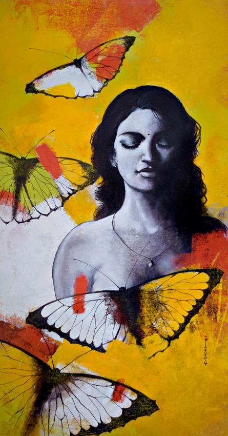 Figurative Acrylic Art Painting title 'Freedom of beauty 15' by artist Kishore Pratim Biswas