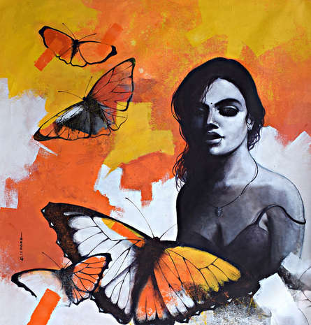 Figurative Acrylic Art Painting title Freedom of Beauty 16 by artist Kishore Pratim Biswas