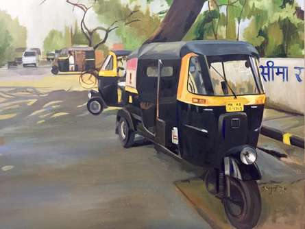 Auto Stand | Painting by artist Shagufta Mehdi | oil | Canvas