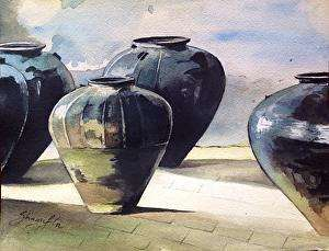 Pots/Vessels Watercolor Art Painting title 'Earthen Hues' by artist Shagufta Mehdi