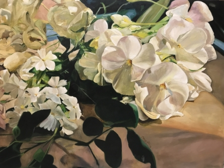 Nature Oil Art Painting title 'Glorious Whites' by artist Shagufta Mehdi