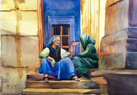 Figurative Watercolor Art Painting title Gossip by artist Shagufta Mehdi
