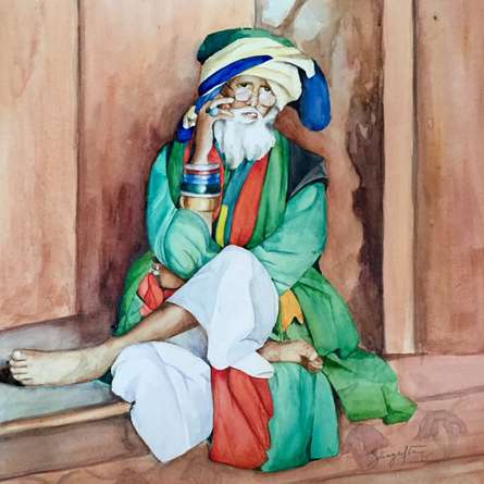 Shagufta Mehdi Paintings | Watercolor Painting - Mobile Baba by artist Shagufta Mehdi | ArtZolo.com