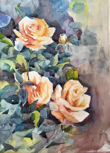 Nature Watercolor Art Painting title Roses by artist Shagufta Mehdi