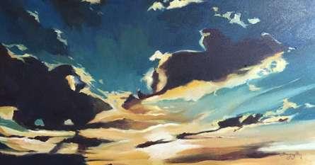 Shagufta Mehdi Paintings | Oil Painting - Silver Lining by artist Shagufta Mehdi | ArtZolo.com