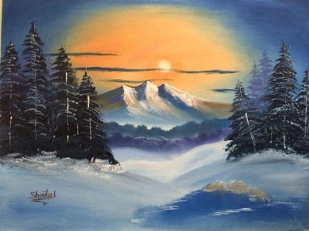 Winter Evergreens   Painting by artist Sheetal Shah   oil   Canvas Board