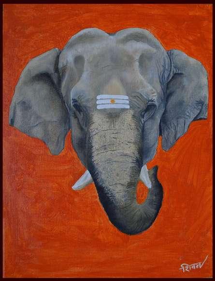 Religious Oil Art Painting title Gajmukh by artist Shivam Bharti