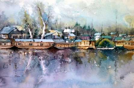 Landscape Watercolor Art Painting title Dal Lake by artist Asit Singh