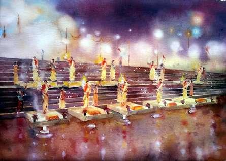 Landscape Watercolor Art Painting title Ganga Arti by artist Asit Singh