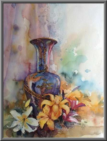 Still-life Watercolor Art Painting title 'Colours' by artist Asit Singh