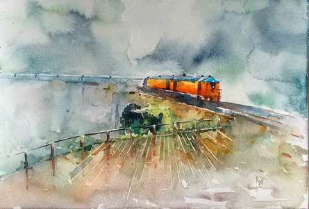 Landscape Watercolor Art Painting title Konkan Rail by artist Asit Singh