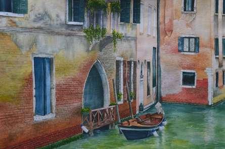Landscape Watercolor Art Painting title Venetian Hues III by artist Niharika Gupta