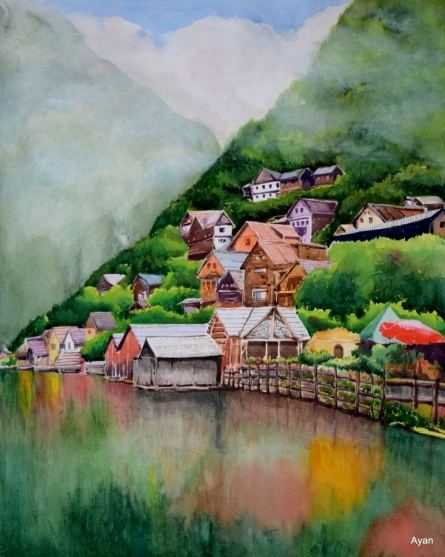 Landscape Watercolor Art Painting title 'Hills and lakes' by artist Ayan Paul