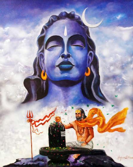 contemporary Acrylic Art Painting title Aadiyogi Shiva by artist Arjun Das