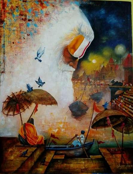 Religious Acrylic Art Painting title Banaras Ghat by artist Arjun Das