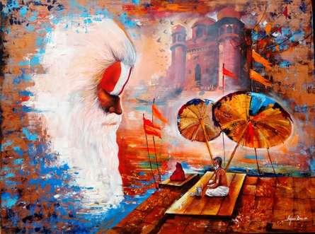 Banaras Ghat 5 | Painting by artist Arjun Das | acrylic | canvas
