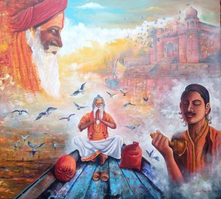 Religious Acrylic Art Painting title Banarash ghat by artist Arjun Das