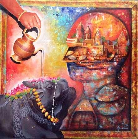 Religious Acrylic Art Painting title Banarash Ghat 2 by artist Arjun Das