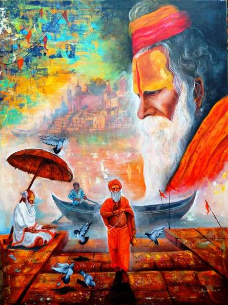 Arjun Das | Acrylic Painting title Banarash Ghat 3 on Canvas | Artist Arjun Das Gallery | ArtZolo.com
