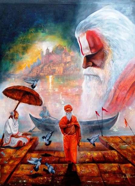 Realistic Acrylic Art Painting title 'Banarash Ghat 3' by artist Arjun Das