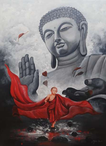 Buddha And Monk10 | Painting by artist Arjun Das | acrylic | Canvas