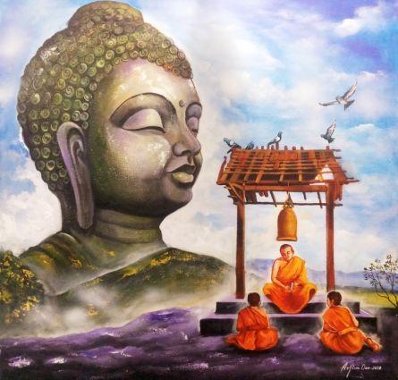 Religious Acrylic Art Painting title 'Buddha And Monk 13' by artist Arjun Das