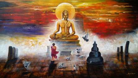 contemporary Acrylic Art Painting title 'Buddha And Monk 4' by artist Arjun Das