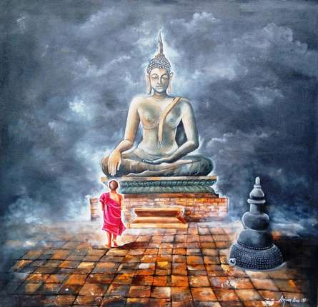 Realistic Acrylic Art Painting title Buddha And Monk Child by artist Arjun Das
