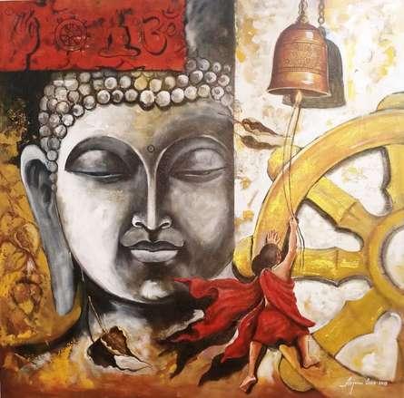 Buddha And Monk Child 12 | Painting by artist Arjun Das | acrylic | Canvas