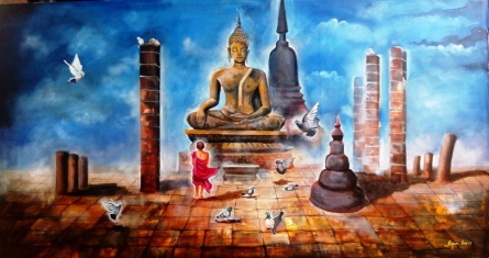 Buddha And Monk Child 4 | Painting by artist Arjun Das | acrylic | Canvas