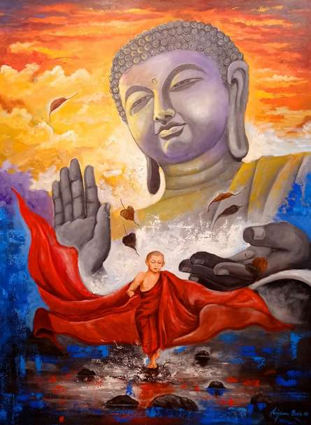 Religious Acrylic Art Painting title Devotion Of Buddha 10 by artist Arjun Das