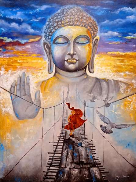 Religious Acrylic Art Painting title Devotion Of Buddha 11 by artist Arjun Das