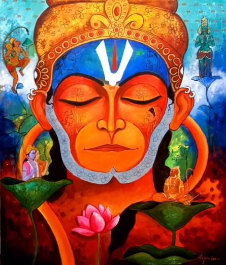 Religious Acrylic Art Painting title Devotion Of Hanuman by artist Arjun Das