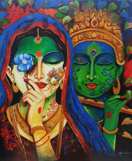 Religious Acrylic Art Painting title Devotion Of Krishna 2 by artist Arjun Das