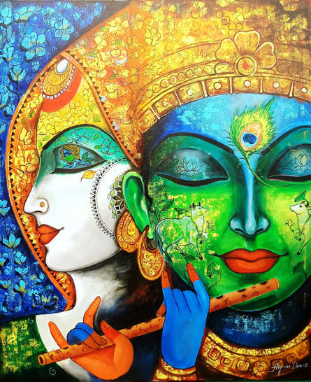 Religious Acrylic Art Painting title 'Devotion Of Krishna 3' by artist Arjun Das