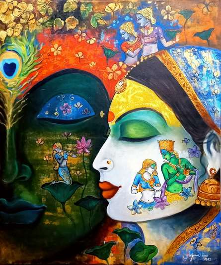 Religious Acrylic-oil Art Painting title Devotion Of Krishna 6 by artist Arjun Das