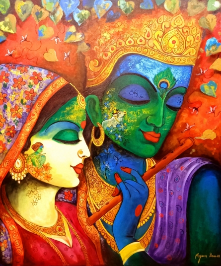 Religious Acrylic Art Painting title Devotion Of Krishna 8 by artist Arjun Das