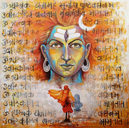 Religious Acrylic Art Painting title 'Devotion Of Shiva' by artist Arjun Das