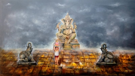 Religious Acrylic Art Painting title 'Ganesha With Child' by artist Arjun Das