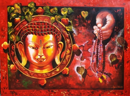 Golden Buddha | Painting by artist Arjun Das | acrylic | Canvas